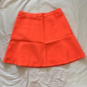 Neon persimmon J. Crew Double Crepe Fluted Skirt